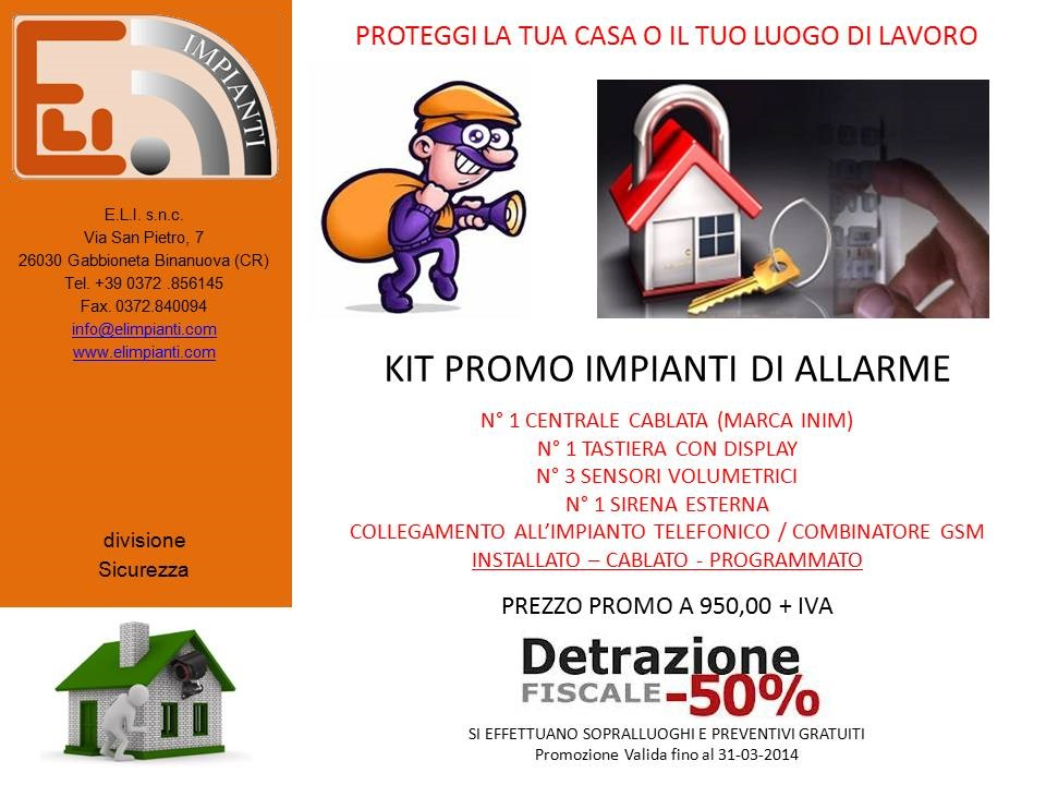 Kit promo sistema allarme